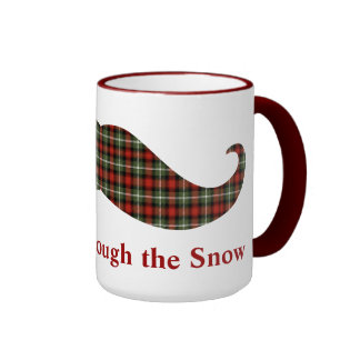 Staching Through the Snow Plaid Christmas Mustache Mugs