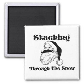 Staching Through The Snow Santa Magnet