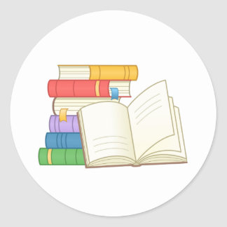 Stack of Books and Open Book Classic Round Sticker