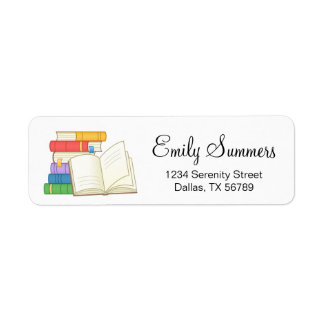 Stack of Books and Open Book Return Address Label