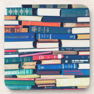 Stack of books drink coaster