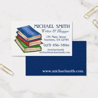 Stack of Books Library Book Writer Reading Teacher Business Card