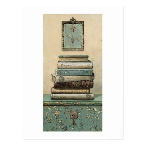 stack of books postcard
