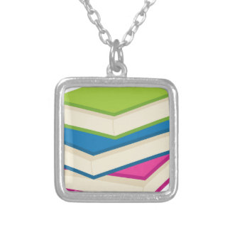 Stack of Books Silver Plated Necklace