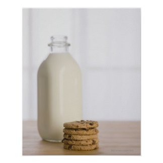 Stack of chocolate chip cookies milk in a glass posters