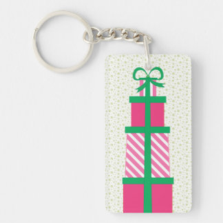Stack of Christmas Presents Double-Sided Rectangular Acrylic Key Ring