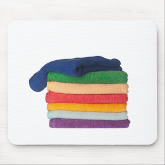 Stack of colorful towels mouse pad