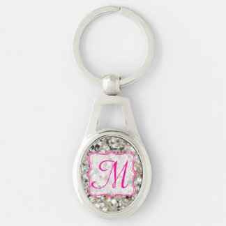 Stack of Glitter Key Chain Silver-Colored Oval Key Ring