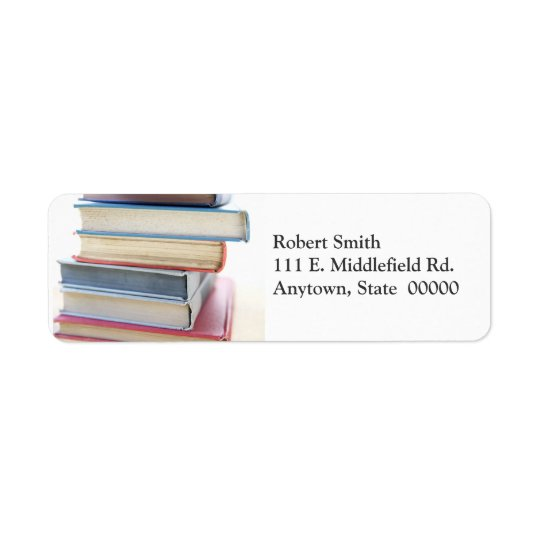 Stack of old used books address labels