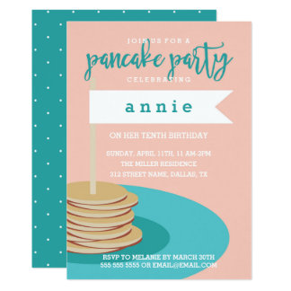 Stack of Pancakes   Birthday Party Card