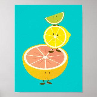 Stack of smiling citrus fruit | Poster