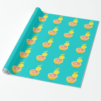 Stack of smiling citrus fruit wrapping paper