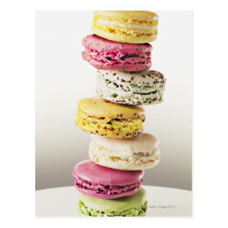 Stack of vibrant macaroons postcard