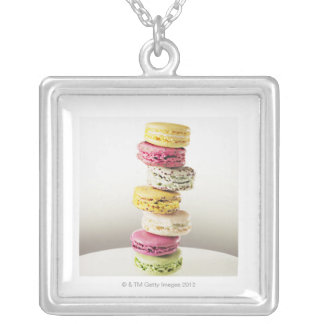 Stack of vibrant macaroons square pendant necklace