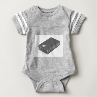 Stack with blank plastic cards with chip baby bodysuit