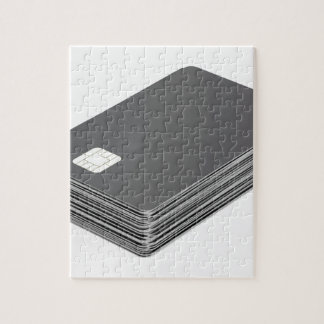 Stack with blank plastic cards with chip jigsaw puzzle