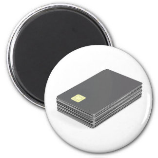 Stack with blank plastic cards with chip magnet
