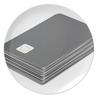 Stack with blank plastic cards with chip plate