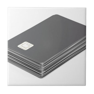 Stack with blank plastic cards with chip tile