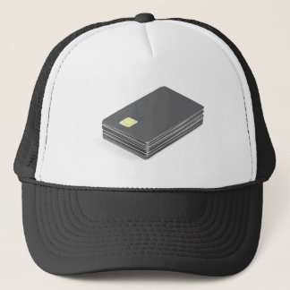 Stack with blank plastic cards with chip trucker hat