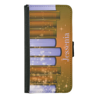 Stacked Books Design Wallet Case
