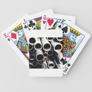 stacked circles of steel bicycle playing cards