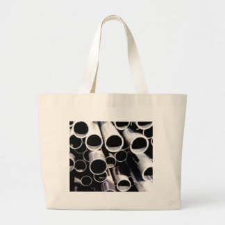 stacked circles of steel large tote bag