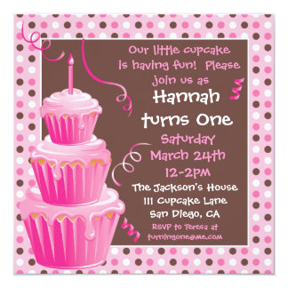 Stacked Cupcakes 1st Birthday Party with polkadots Card