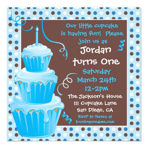 Stacked Cupcakes 1st Birthday Party with polkadots Personalized Invitation