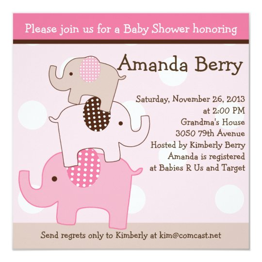 Stacked Elephants with dots Baby Shower Invitation