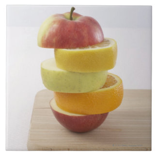 Stacked Fruit Slices Large Square Tile