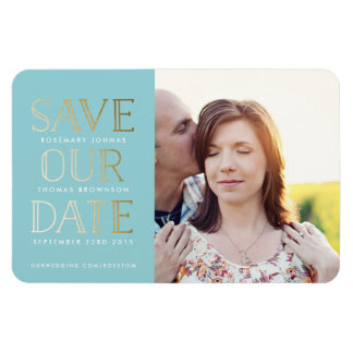 Stacked Gold on Aqua Photo Save the Date Magnet