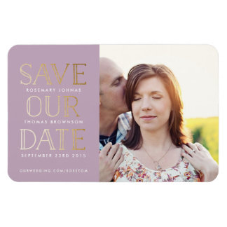 Stacked Gold on Lilac Photo Save the Date Magnet