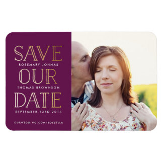 Stacked Gold Photo Save the Date Magnet