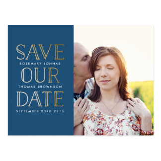 Stacked Gold Save the Date Postcard with Photo