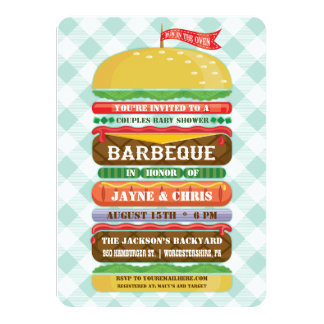 Stacked Hamburger Baby Shower Barbecue 11 Cm X 16 Cm Invitation Card
