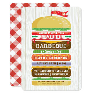 Stacked Hamburger Birthday BBQ Woodgrain Card