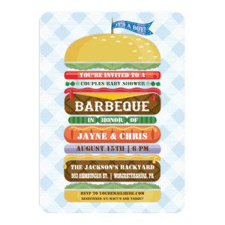Stacked Hamburger Boy Baby Shower Barbecue 11 Cm X 16 Cm Invitation Card
