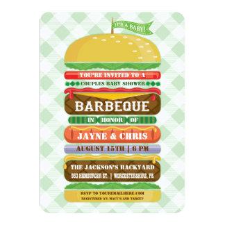 Stacked Hamburger Gender Neutral Baby Shower BBQ 11 Cm X 16 Cm Invitation Card