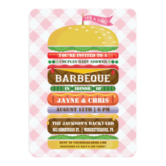 Stacked Hamburger Girl Baby Shower Barbecue 11 Cm X 16 Cm Invitation Card