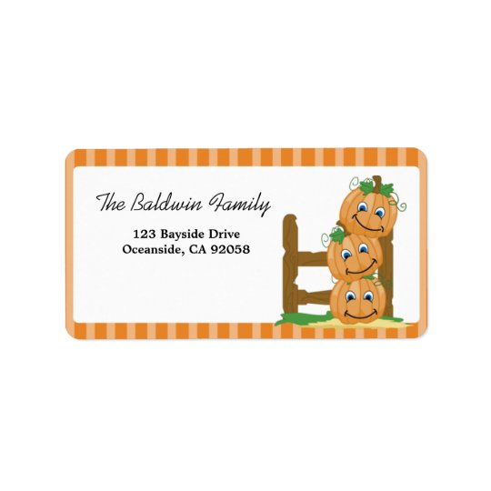 Stacked Pumpkins Halloween Address Label