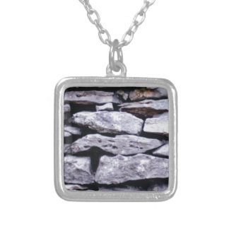 stacked rock wall silver plated necklace