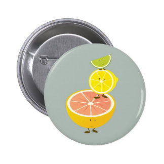 Stacked smiling citrus fruit 6 cm round badge