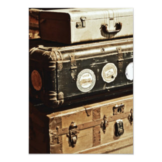 Stacked Vintage Travel Cases 13 Cm X 18 Cm Invitation Card