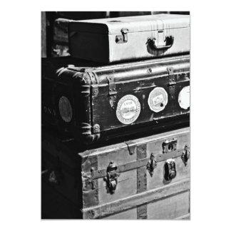Stacked Vintage Travel Cases 13 Cm X 18 Cm Invitation Card