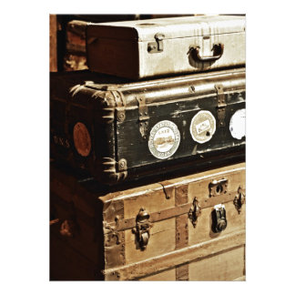 Stacked Vintage Travel Cases Invitations