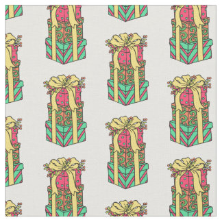 Stacked Wrapped Christmas Presents Xmas Fabric