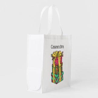 Stacked Wrapped Christmas Presents Xmas Reusable Grocery Bag