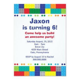 Stacking Bricks Boy's Birthday Party 11 Cm X 16 Cm Invitation Card