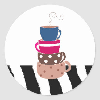 Stacking Coffee Cups Classic Round Sticker